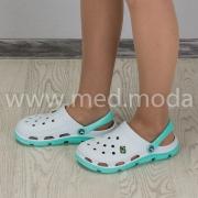 Медичні сабо JA (Україна), біло-м'ятні, жіночі