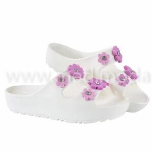 Шльопанці JA (Україна), жіночі, білi з рожевими квітками