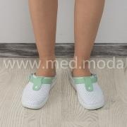 Медичні сабо Tellus (Молдова), біло-зелені + перфорація