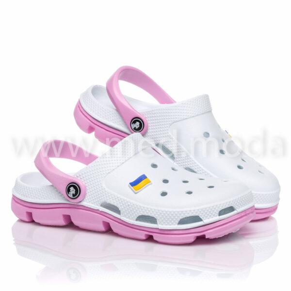 Медичні сабо JA (Україна), біло-рожеві, жіночі
